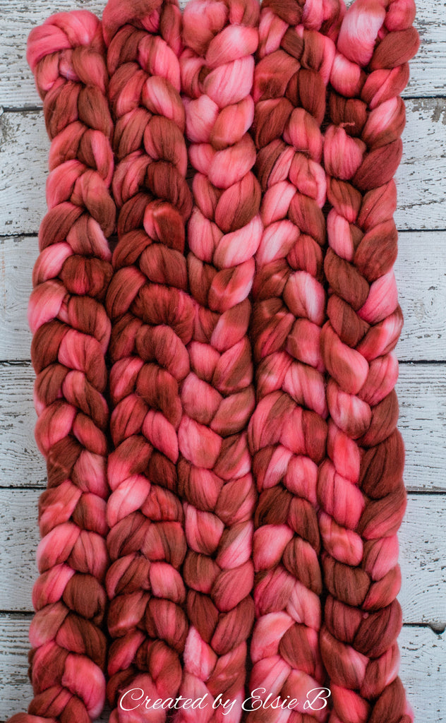 Superwash Merino/ Nylon 'Terra Cotta' 4 oz semi-solid combed top, red merino nylon roving, CreatedbyElsieB roving, hand dyed spinning fiber