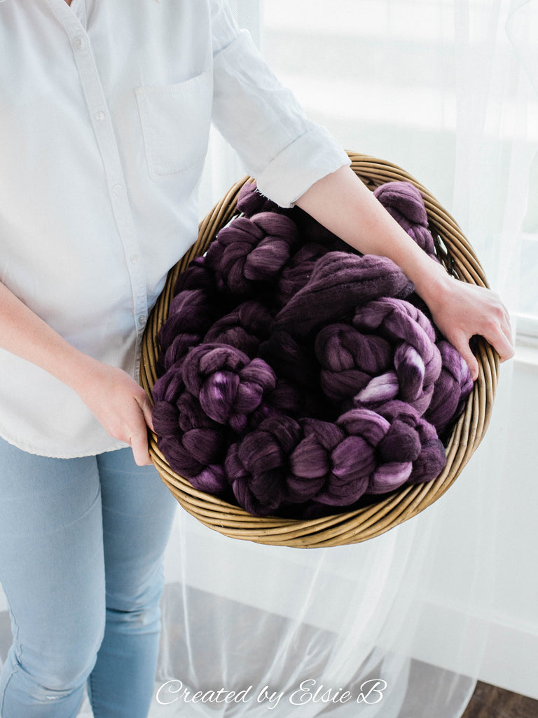Organic Polwarth/ Silk 'Aubergine' 4 oz semi-solid spinning fiber, hand dyed wool, CreatedbyElsieB wool silk roving by the pound, combed top