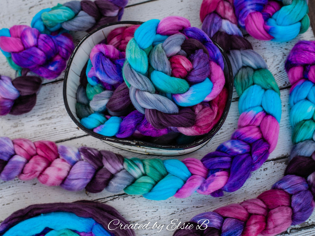 Organic Polwarth/ Silk 'Berry Splash' 4 oz wool silk roving, pink hand dyed wool, CreatedbyElsieB blue combed top, purple spinning fiber