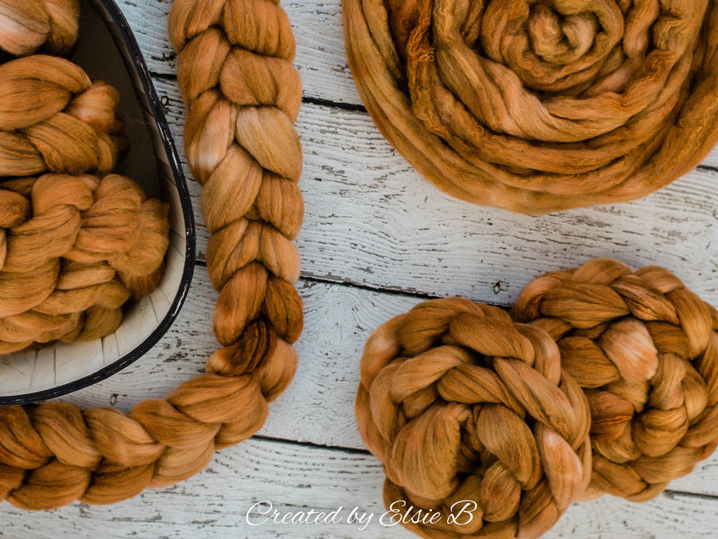 Organic Polwarth/ Silk 'Caramel' 4 oz semi-solid spinning fiber, hand dyed wool, Created by ElsieB wool silk roving by the pound, combed top