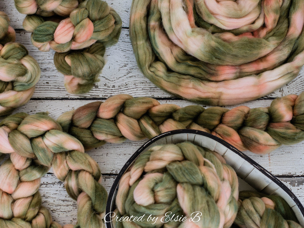 Superwash Merino/ Nylon 'Oyster Thief' 4 oz semi-solid combed top, green merino roving, CreatedbyElsieB roving, hand dyed spinning fiber