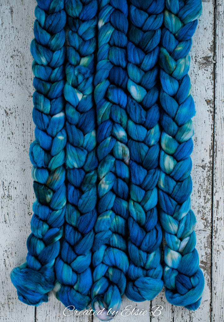 Superwash Merino/ Nylon 'Cobalt' 4 oz semi-solid combed top, blue merino roving, CreatedbyElsieB roving for socks, hand dyed spinning fiber