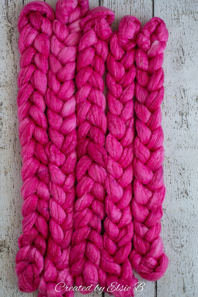 Polwarth/ Tencel 'Light Magenta' 4 oz semi-solid spinning fiber, pink wool for spinning, roving by the pound, combed top, dyed wool roving