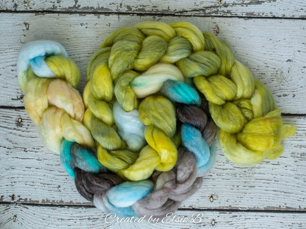 Polwarth/ Tencel 'Limoncello' 4 oz semi-solid spinning fiber, yellow wool for spinning, roving by the pound, combed top, green wool roving