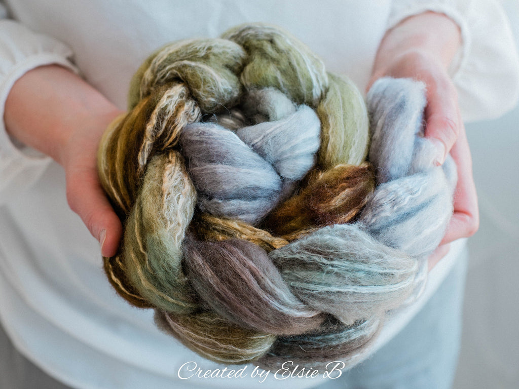 BFL/ Seacell 'Meadows & Mist' 4 oz hand dyed roving CreatedbyElsieB Blue Faced Leicester spinning fiber, green combed top, gray wool roving