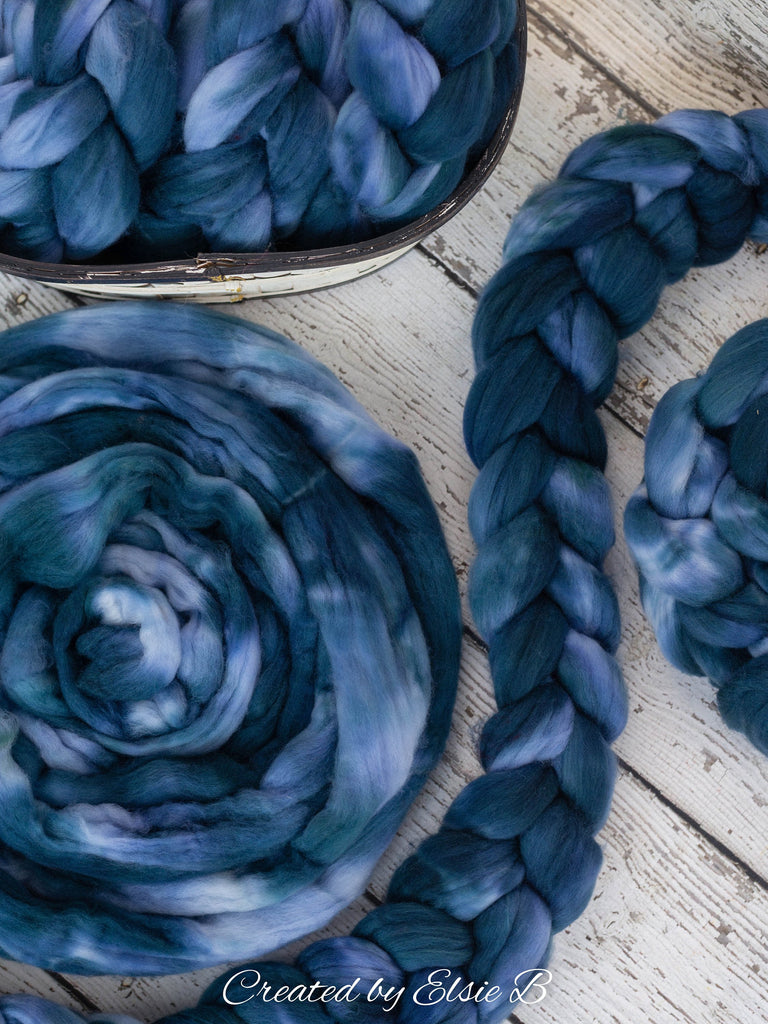 Superwash Merino/ Nylon 'Slate Blue' 4 oz semi-solid merino roving, Created by ElsieB superwash roving, hand dyed spinning fiber, combed top