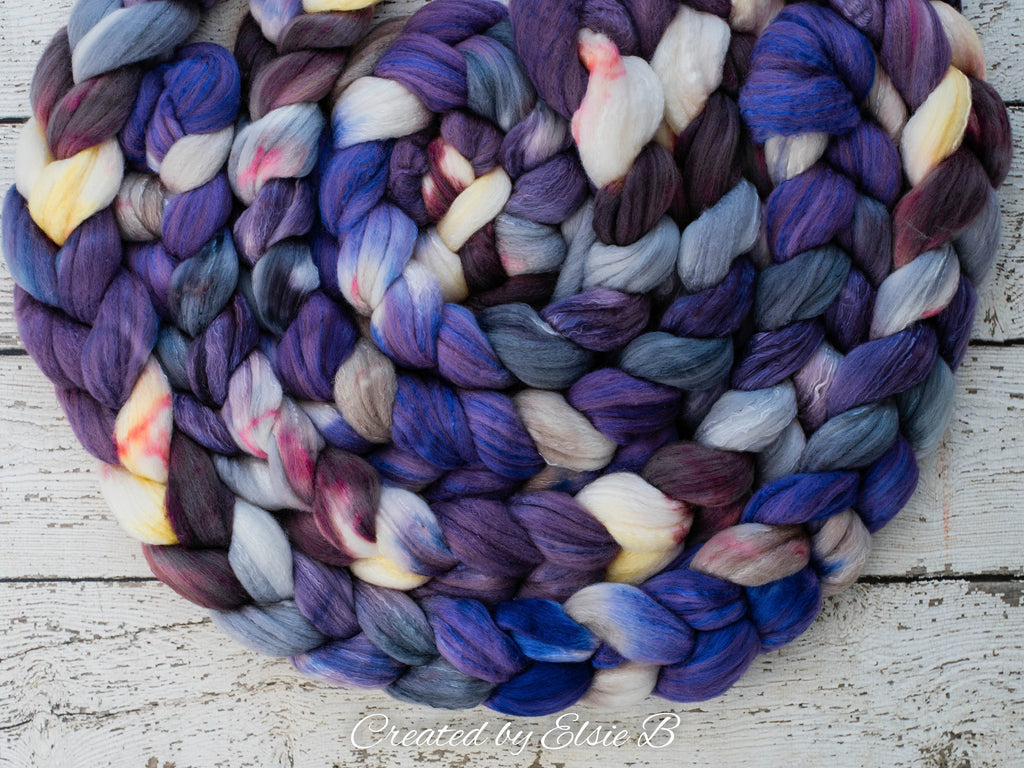 Organic Polwarth/ Silk 'Bluebonnets' 4 oz wool silk roving, purple hand dyed wool, Created by ElsieB combed top by the pound, spinning fiber