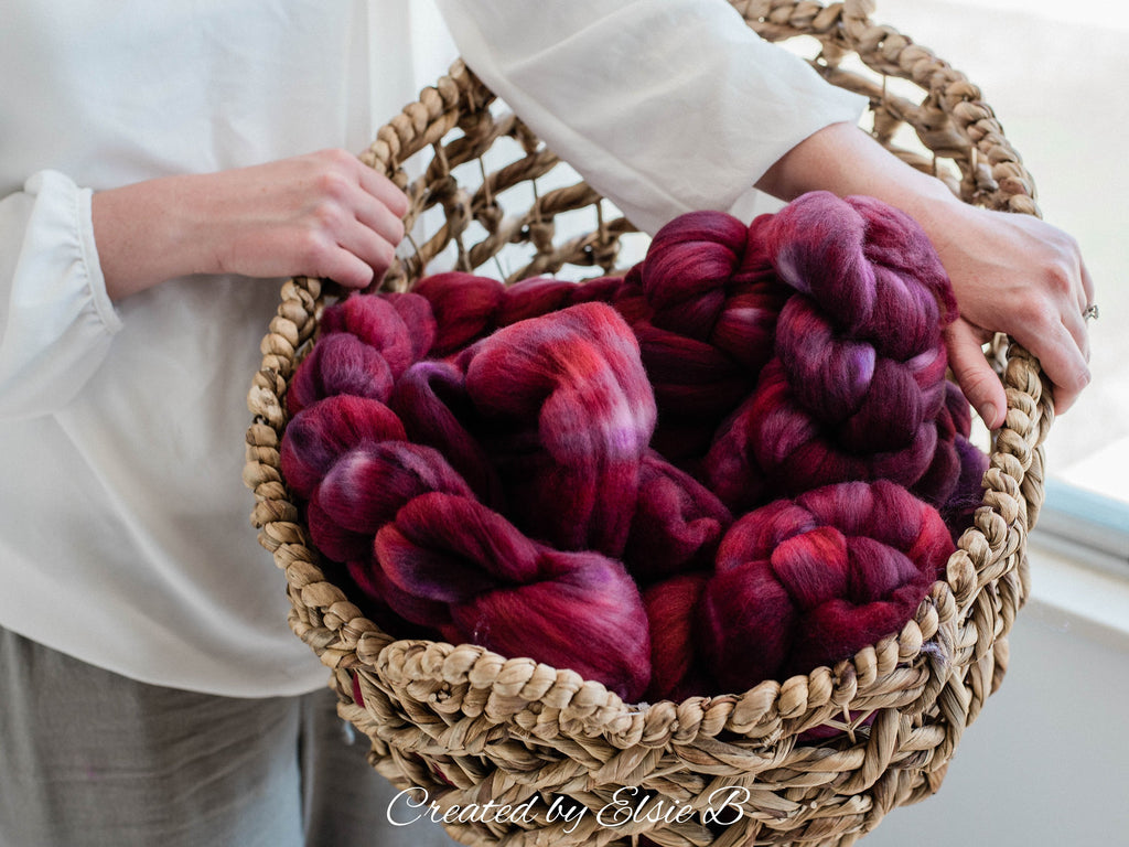 21 micron Merino 'Mulberry' 4 oz semi-solid combed top, red spinning fiber, hand dyed roving, Created by Elsie B wool roving by the pound