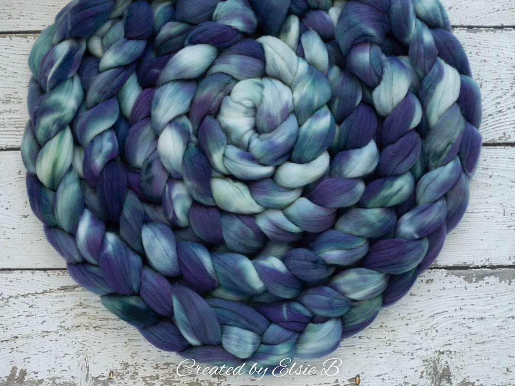 Superwash Merino/ Nylon 'Arctic Night' 4 oz semi-solid purple combed top, superwash roving CreatedbyElsieB hand dyed roving, spinning fiber