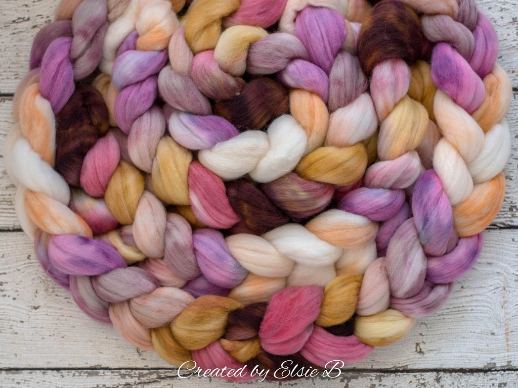 Polwarth/ Silk 'Tapestry Rose' 4 oz peach spinning fiber, pink hand dyed wool roving, Created by ElsieB combed top, brown wool & silk roving
