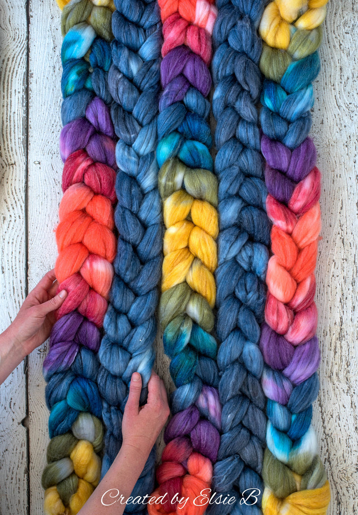 SW Merino/ Bamboo/ Nylon 'Color Wheel' 4 oz spinning fiber, superwash roving, blue merino combed top, hand dyed roving for spinning