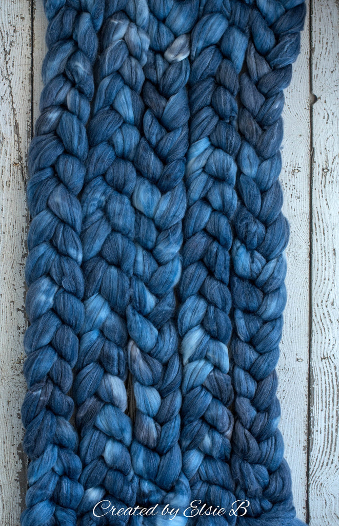 SW Merino/ Bamboo/ Nylon 'Denim' 4 oz semi-solid spinning fiber, superwash roving, blue merino combed top, hand dyed roving for spinning