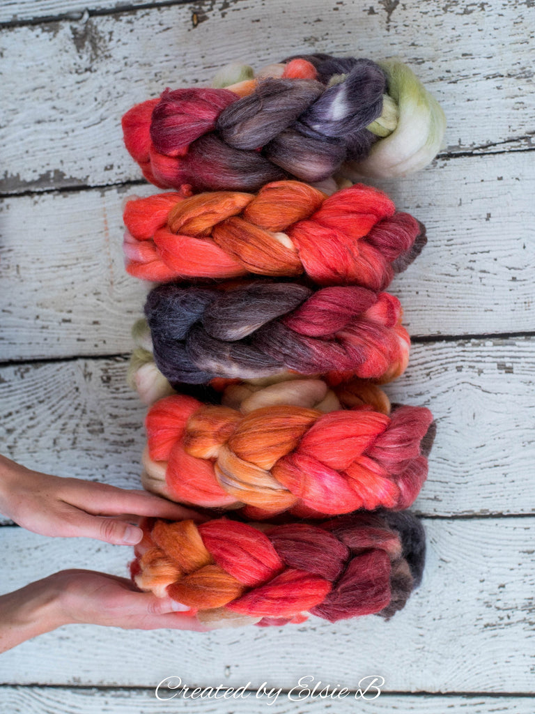 SW Merino/ Bamboo/ Nylon 'Indian Paintbrush' 4 oz spinning fiber, superwash roving, merino combed top, hand dyed roving for spinning
