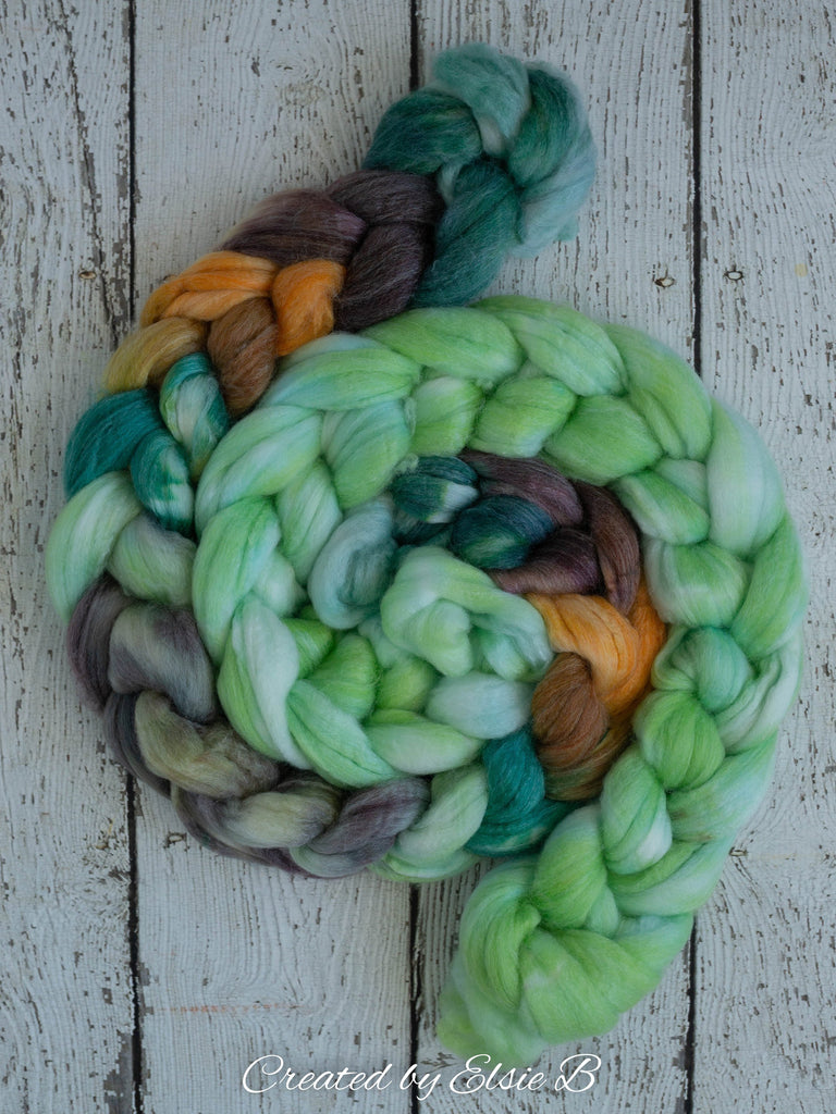 SW Merino/ Bamboo/ Nylon 'Whispering Pines' 4 oz spinning fiber, superwash roving, green merino combed top, hand dyed roving for spinning