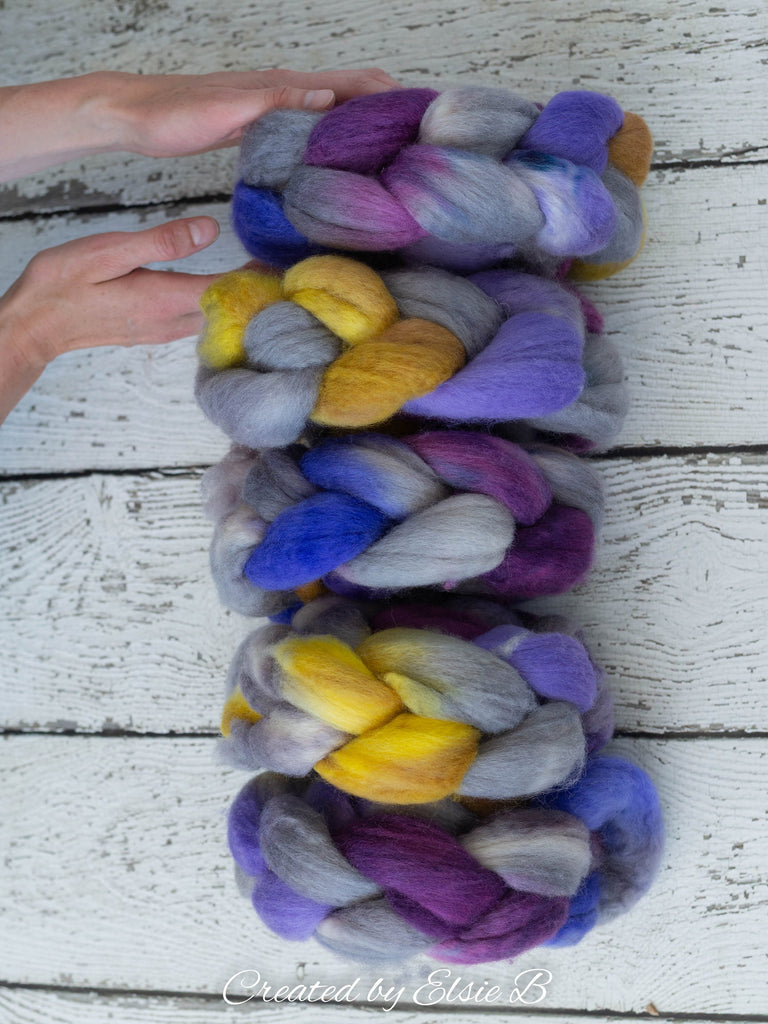 Blue Faced Leicester 'Little Purple Pansy' 4 oz combed top, BFL hand dyed spinning fiber, CreatedbyElsieB gray wool roving for spinning
