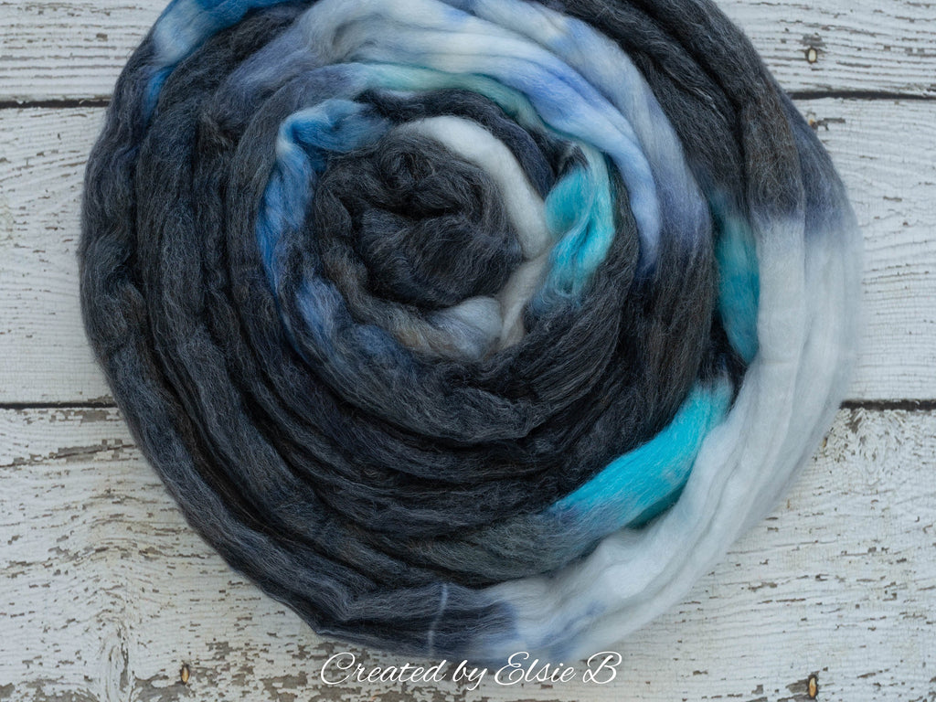 SW Merino/ Bamboo/ Nylon 'Steller's Jay' 4 oz superwash roving, blue merino combed top, hand dyed roving for spinning, black spinning fiber