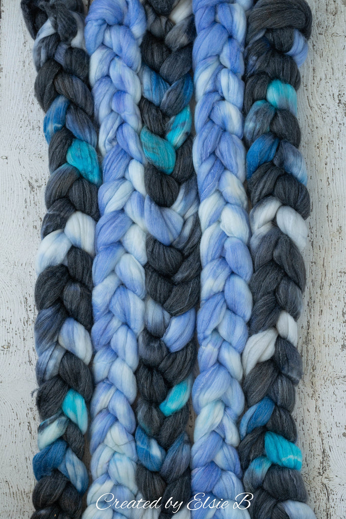 SW Merino/ Bamboo/ Nylon 'Frozen' 4 oz semi-solid spinning fiber, superwash roving, blue merino combed top, hand dyed roving for spinning