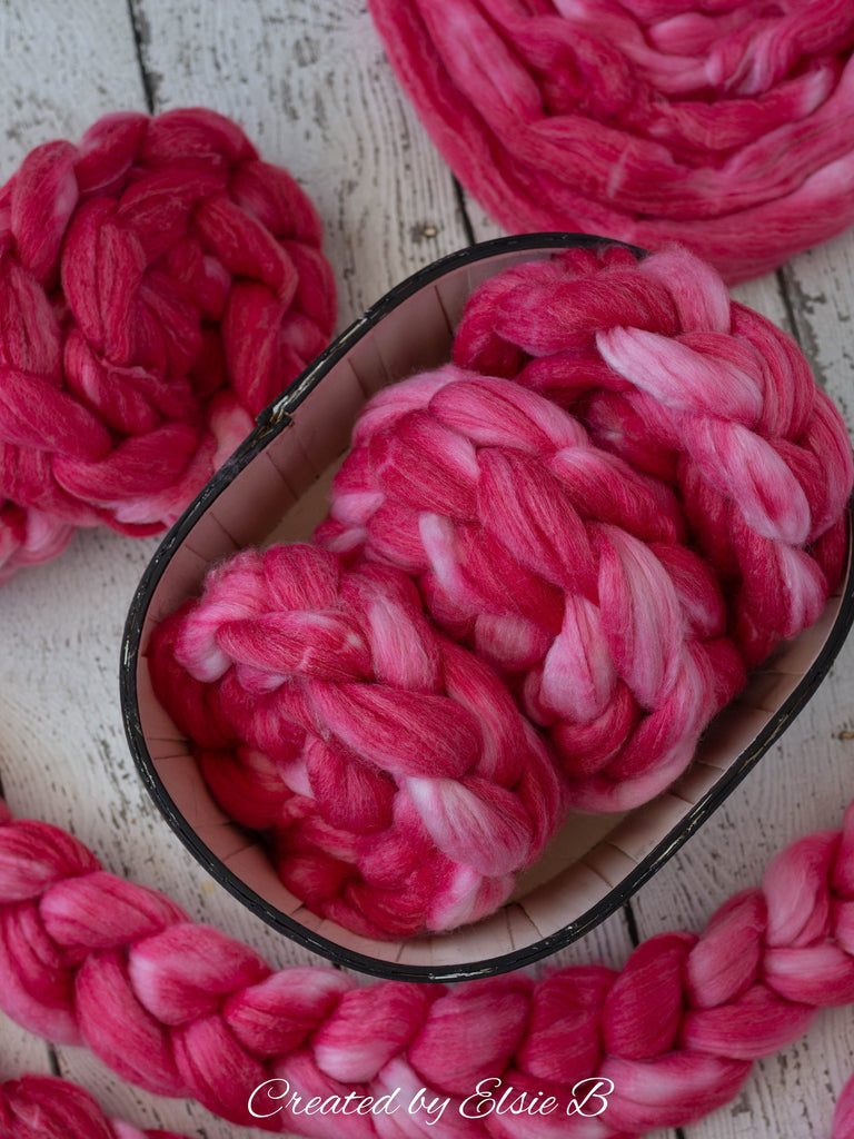 SW Merino/ Bamboo/ Nylon 'Dragon Fruit' 4 oz semi-solid fiber, red superwash roving, pink merino combed top, hand dyed roving for spinning