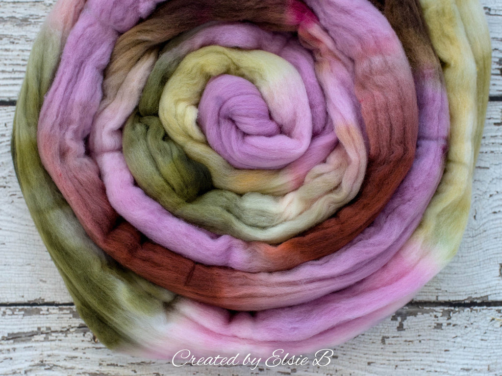 Rambouillet/ Nylon 'Sweet Orchid' 4 oz spinning fiber, green hand dyed roving, brown roving by the pound, Created by Elsie B pink combed top