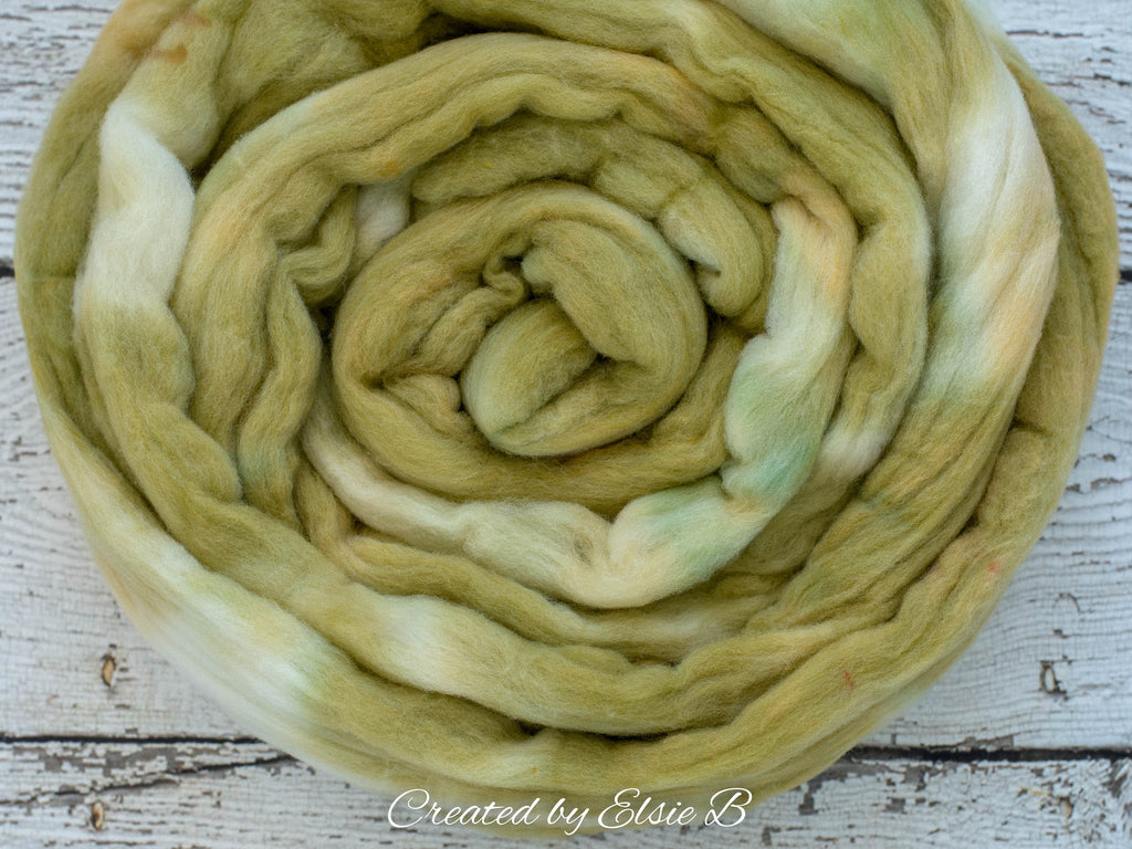SALE*** Rambouillet/ Nylon 'Pistachio' 4 oz semi-solid dusty green dyed roving by the pound, CreatedbyElsieB combed top, fiber for spinning
