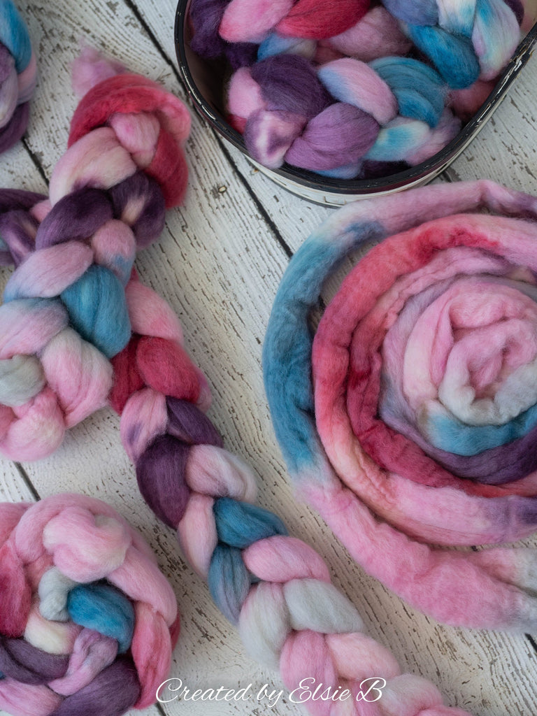 Blue Faced Leicester 'Ice Cream Parlor' 4 oz pink combed top, BFL hand dyed top, blue spinning fiber, Created by Elsie B purple wool roving