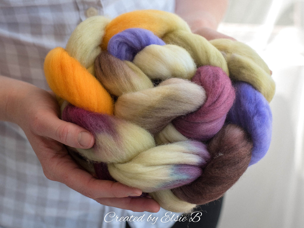 21 micron Merino 'Flower Petals' 4 oz purple combed top, yellow spinning fiber, hand dyed roving, Created by ElsieB wool roving by the pound
