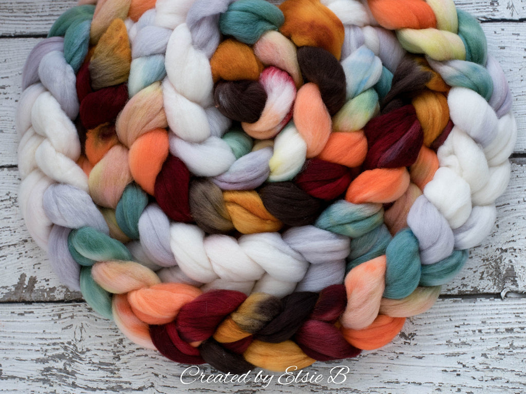 Polwarth 'Campfire Embers' 4 oz combed top for spinning, CreatedbyElsieB orange spinning fiber, mint wool by the pound, hand dyed roving