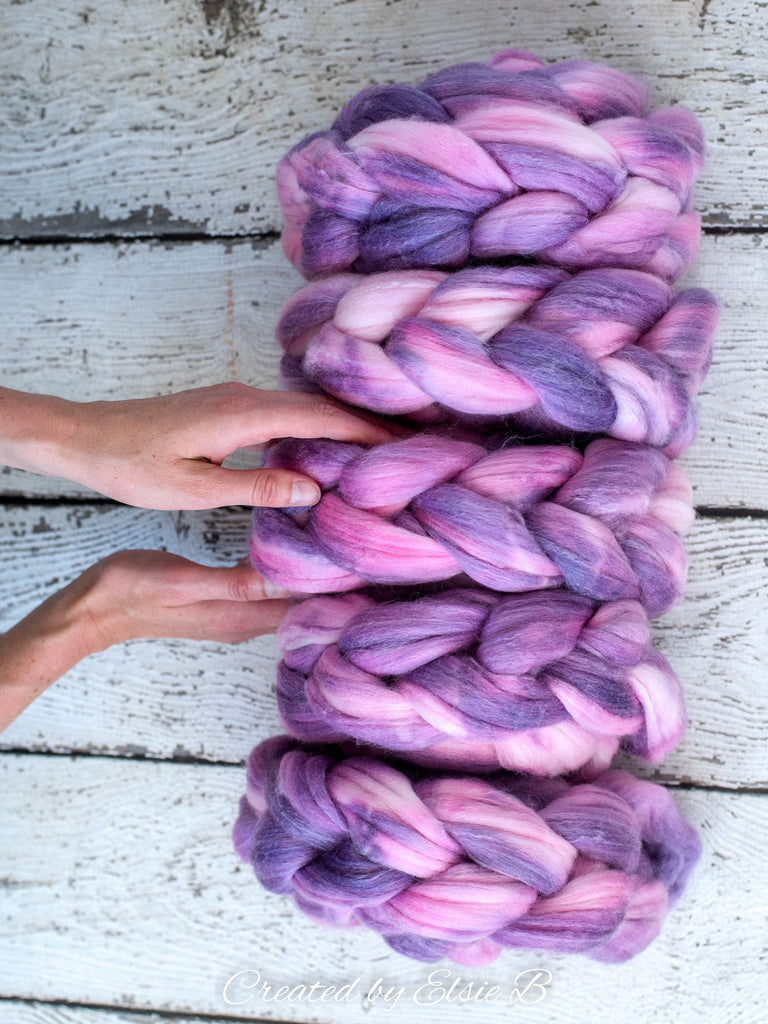 SALE*** SW Merino/ Bamboo/ Nylon 'Pink Lilac' 4 oz semi-solid fiber, superwash roving, purple merino combed top, pink hand dyed roving
