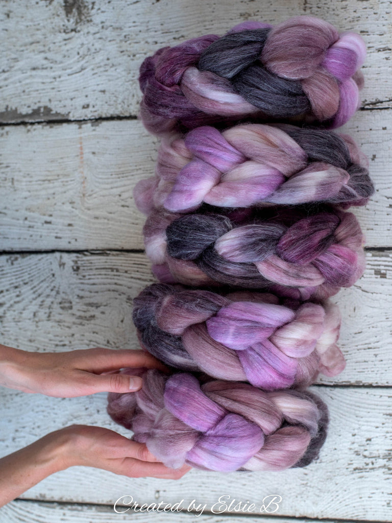 SW Merino/ Bamboo/ Nylon 'Lavender Macaron' 4 oz spinning fiber, superwash roving, purple merino combed top, hand dyed roving for spinning