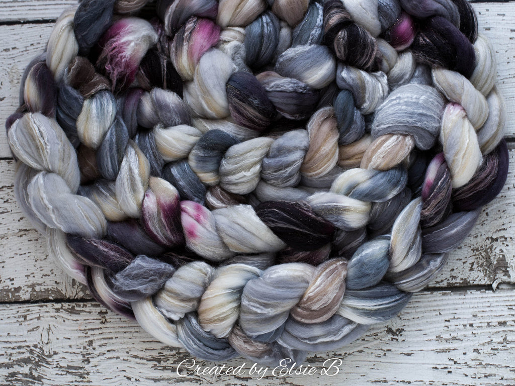 Merino/ Rose/ Gold Sparkle 4 oz 'Winter's Eve' CreatedbyElsieB roving, merino stellina spinning fiber, hand dyed gray roving, black wool