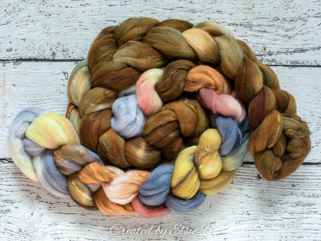 Superfine Merino/ Silk 'Bronze' 4 oz semi-solid hand dyed roving, Created by ElsieB gold spinning fiber, brown combed top, wool for spinning