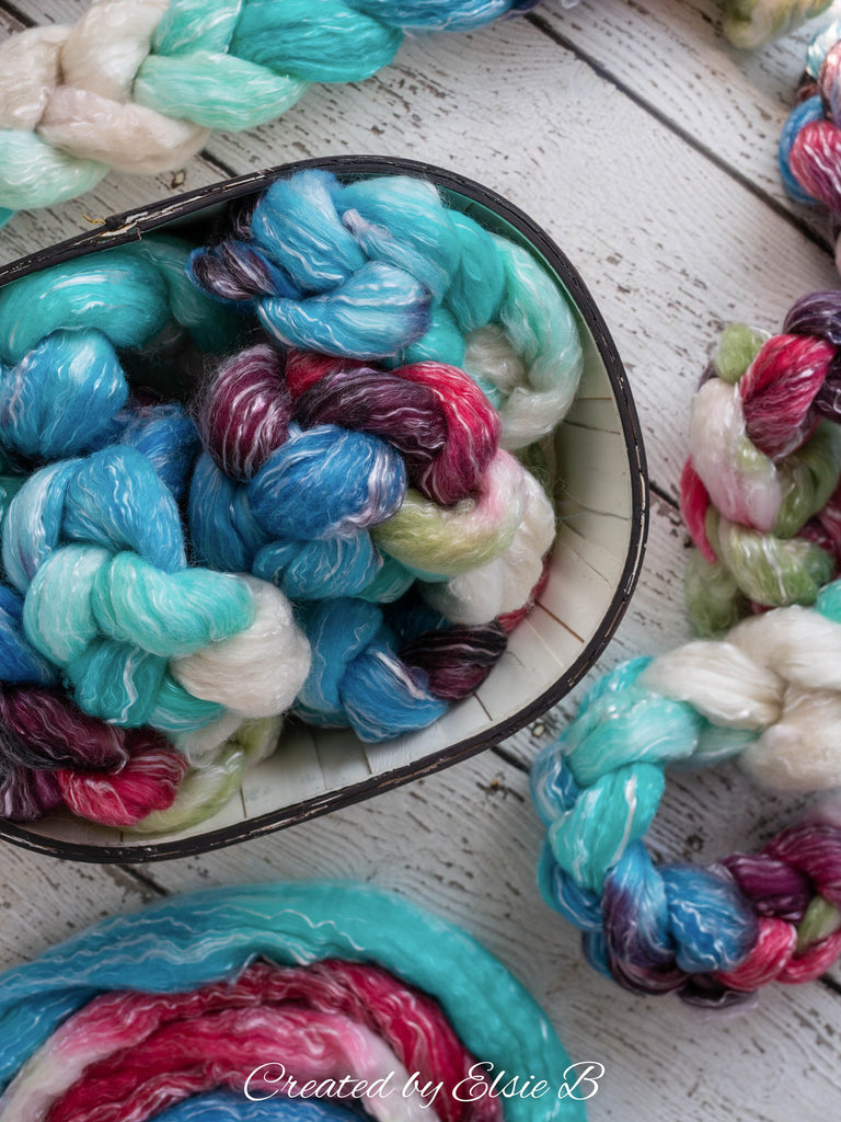 Polwarth/ Tencel 'Lollipop' 4 oz red spinning fiber, blue wool for spinning, roving by the pound, Created by Elsie B combed top for spinning