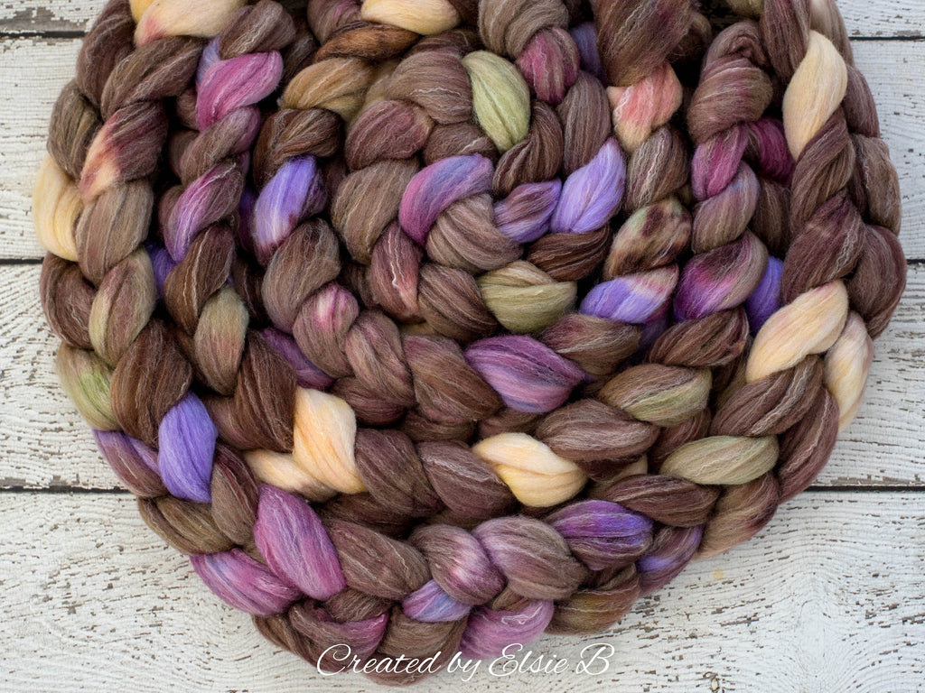 Targhee/ Bamboo/ Silk 'Moorland Heather' 4 oz brown spinning fiber, purple hand dyed roving by the pound, Created by ElsieB wool combed top