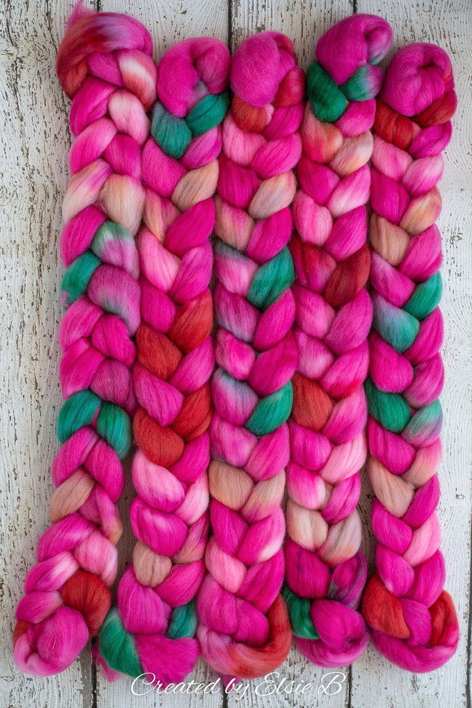 Falkland 'Flamingo' 4 oz spinning fiber, pink wool roving for spinning, Created by Elsie B roving wool, hand dyed roving, mint combed top