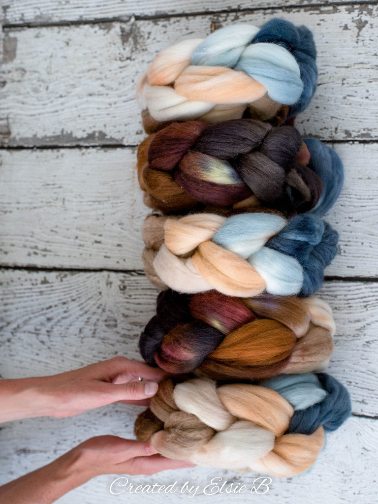 Organic Merino/ Cashmere 'Chincoteague' 4 oz combed top, wool roving by the pound hand dyed roving, Created by Elsie B blue spinning fiber