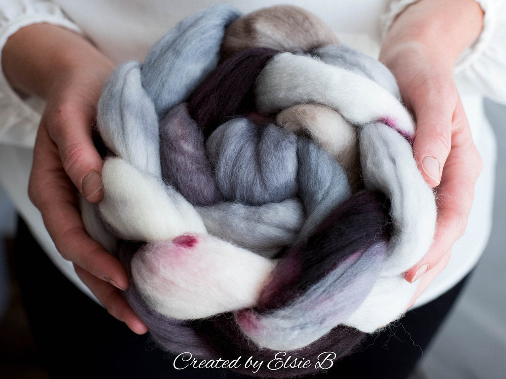 Organic Merino/ Cashmere 'Winter's Eve' 4 oz combed top, wool roving by the pound, hand dyed roving, Created by Elsie B blue spinning fiber