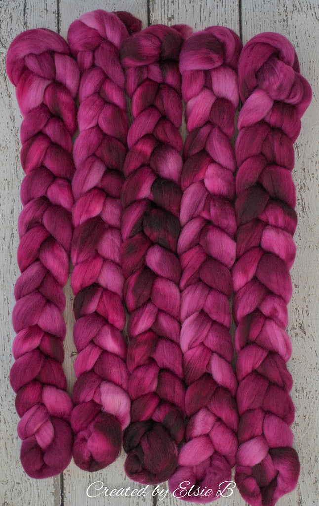 Falkland 'Raspberry' 4 oz semi-solid spinning fiber, hand dyed roving wool for spinning, CreatedbyElsieB wool by the pound, red combed top