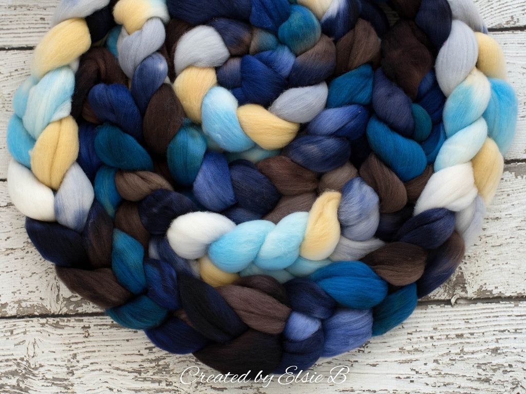 Organic Polwarth 'Sea Storm' 4 oz blue spinning fiber, brown wool roving for spinning, hand dyed roving, Created by Elsie B navy combed top
