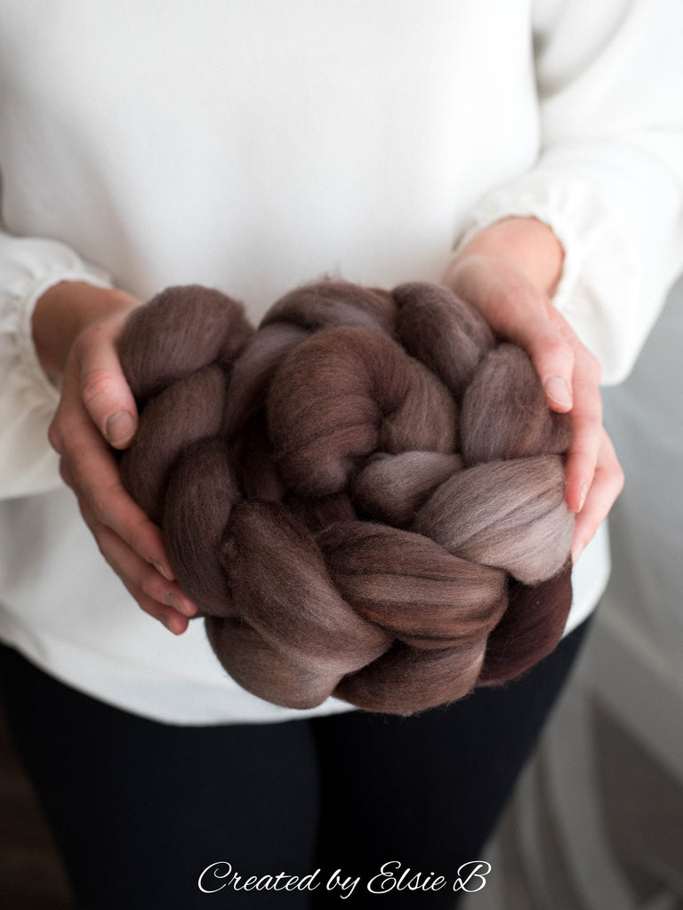 Organic Polwarth 'Truffle' 4 oz semi-solid spinning fiber, brown wool roving for spinning, hand dyed roving, Created by Elsie B combed top