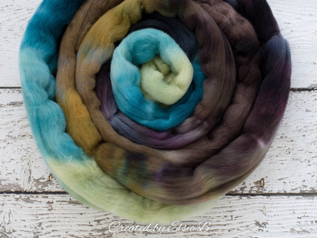 Organic Polwarth 'Calm Before the Storm' 4 oz teal spinning fiber, brown wool roving for spinning, Created by Elsie B hand dyed combed top