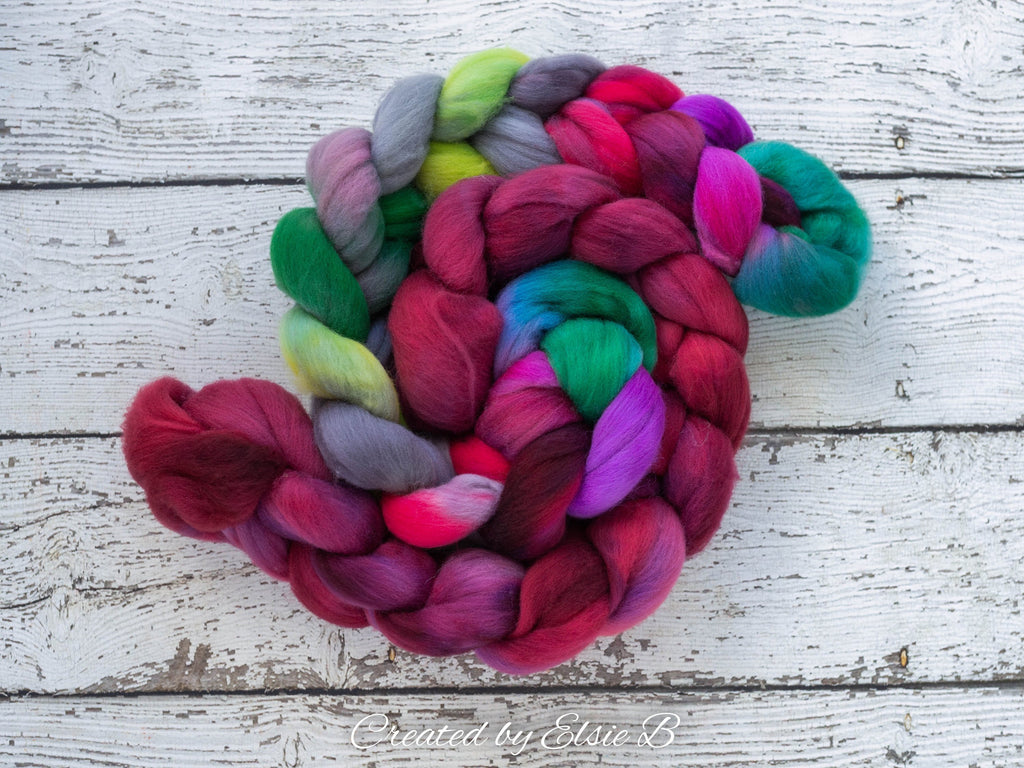Polwarth 'Hummingbird' 4 oz red spinning fiber, green wool roving for spinning, gray hand dyed roving, Created by Elsie B combed top