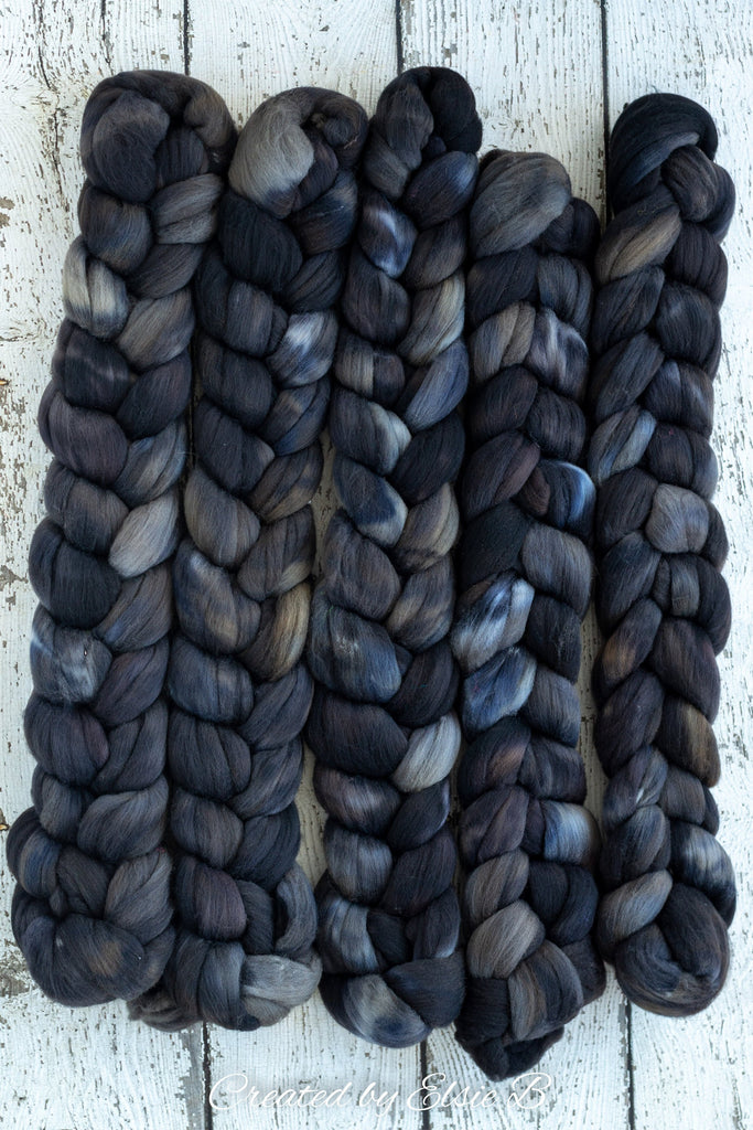 Targhee 'Coal' 4 oz semi-solid black hand dyed spinning fiber, gray dyed roving by the pound, Created by ElsieB combed top, wool roving