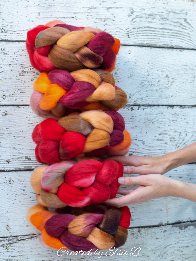 Polwarth 'Spice Market' 4 oz red spinning fiber, orange wool roving for spinning, Created by Elsie B hand dyed brown combed top