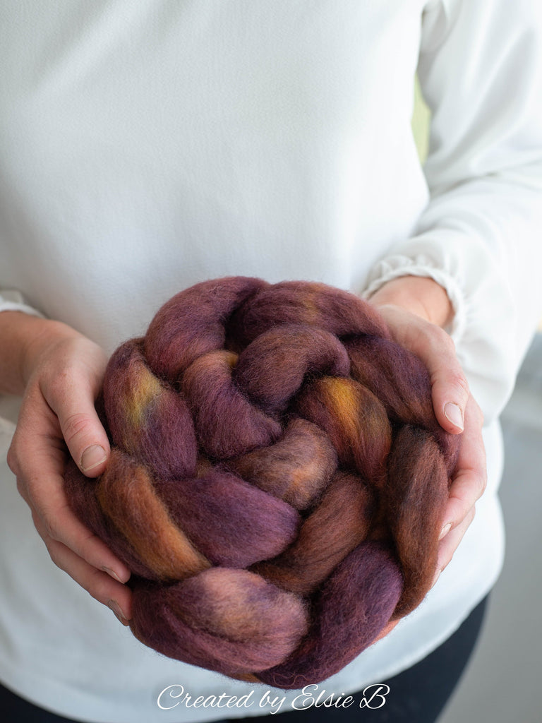 Falkland 'Carmello' 4 oz spinning fiber, semi-solid hand dyed combed top, brown roving, Created by Elsie B roving for spinning, wool fiber
