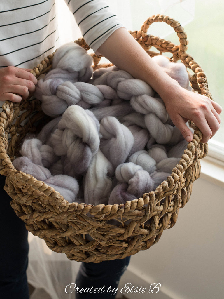 Polwarth 'Whisper' 4 oz semi-solid combed top for spinning, Created by ElsieB spinning fiber, gray hand dyed wool roving, learning to spin