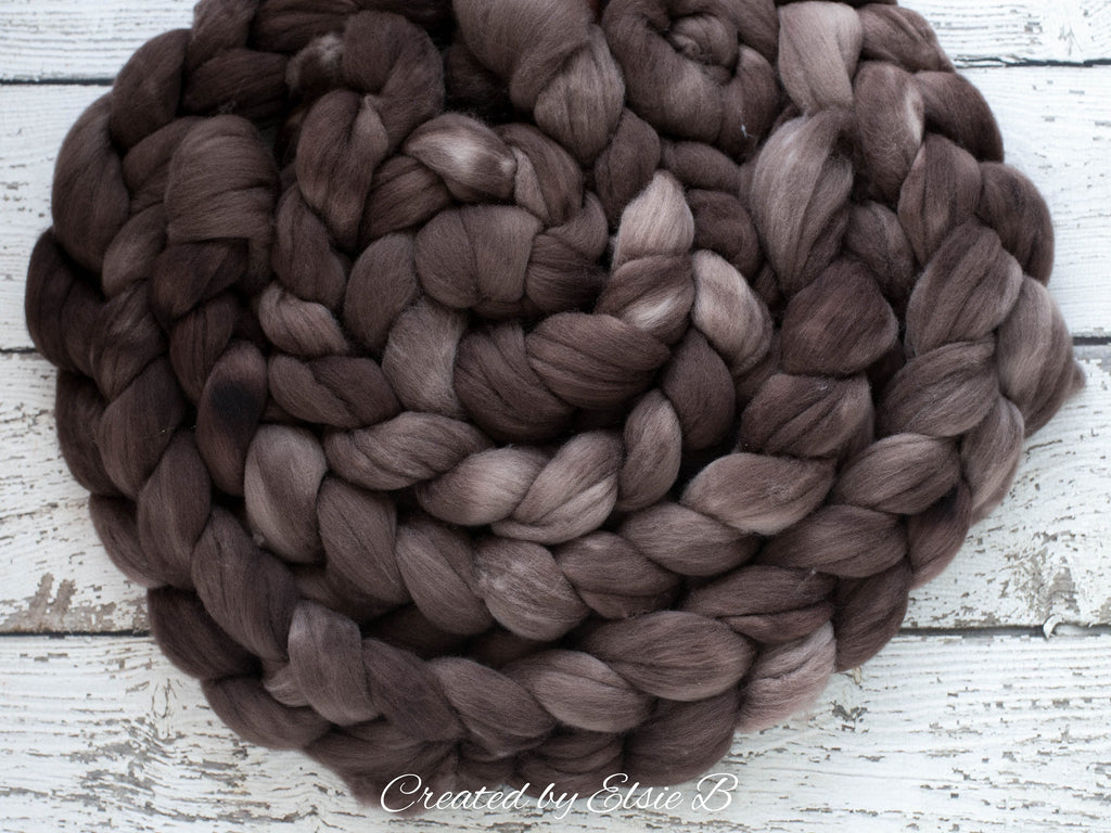 Polwarth 'Mink' 4 oz semi-solid combed top for spinning, CreatedbyElsieB spinning fiber, brown hand dyed wool roving, learning to spin yarn