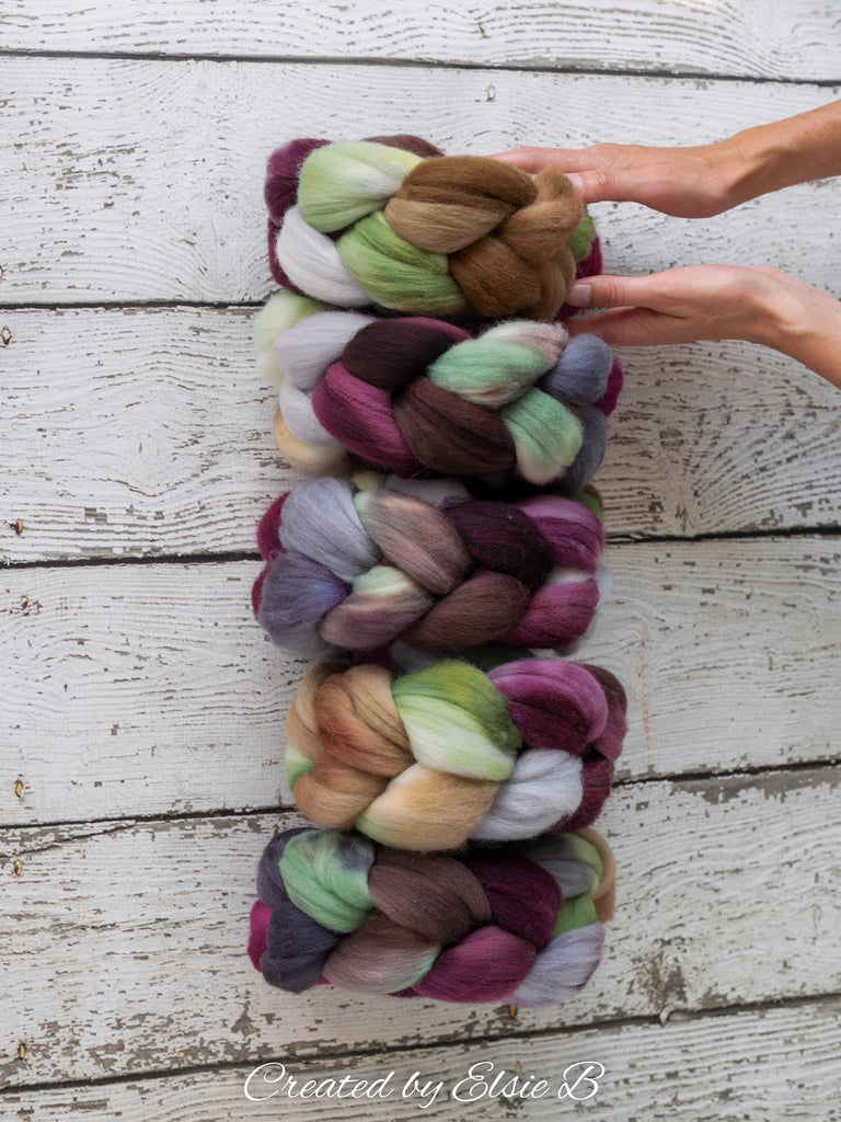 Polwarth 'Tea in the Garden' 4 oz gray combed top for spinning, CreatedbyElsieB plum spinning fiber, mint wool by the pound, handdyed roving
