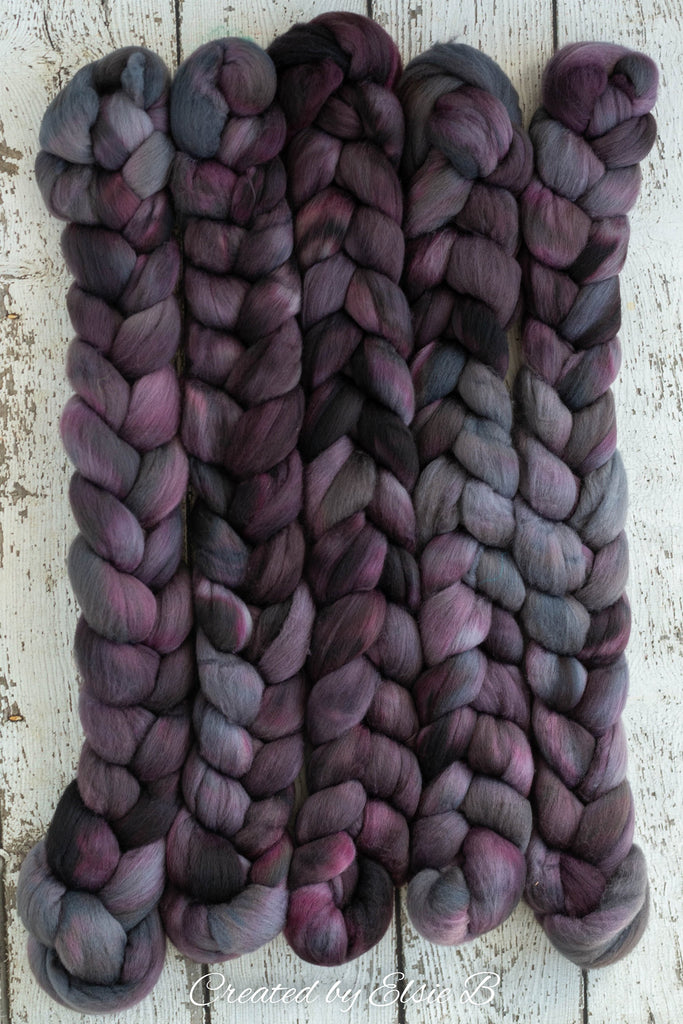 Organic Polwarth 'Espresso' 4 oz semi-solid spinning fiber, black wool roving for spinning, hand dyed roving, Created by Elsie B combed top