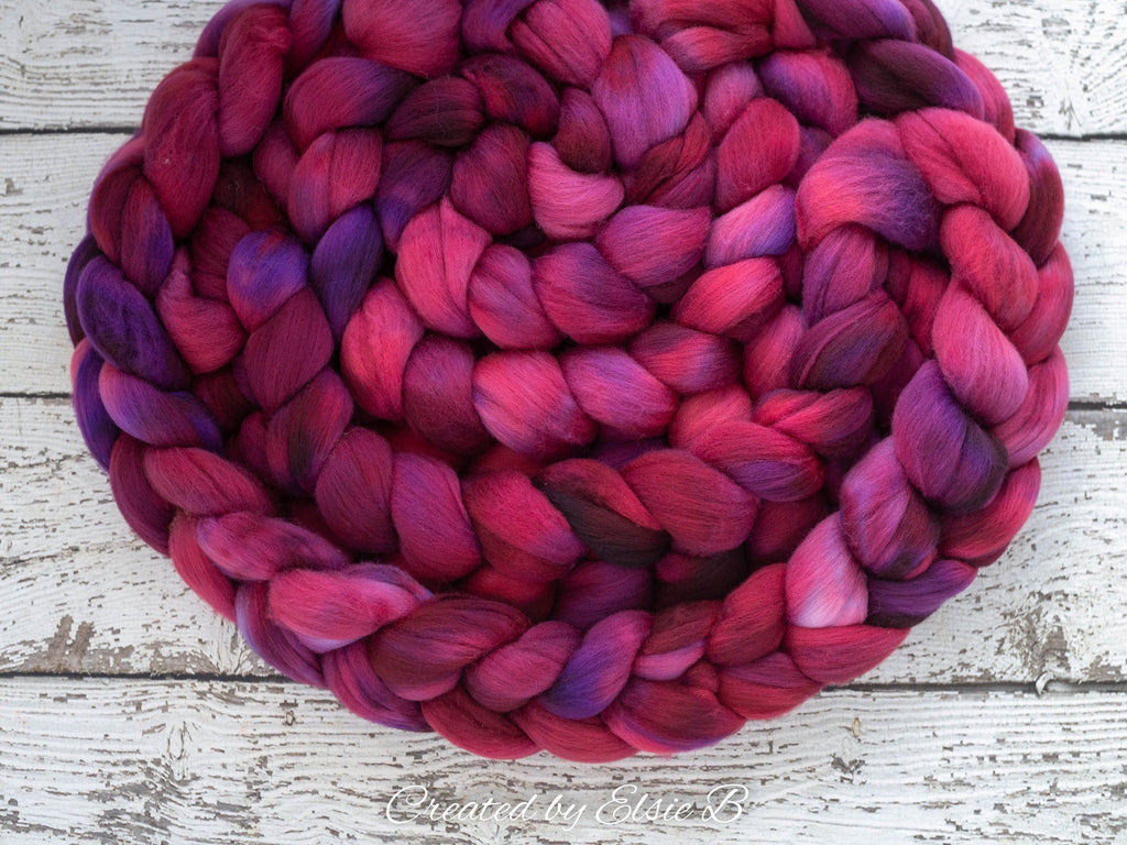 Organic Polwarth 'Mulberry' 4 oz semi-solid maroon spinning fiber, red roving for spinning, hand dyed roving, Created by ElsieB combed top