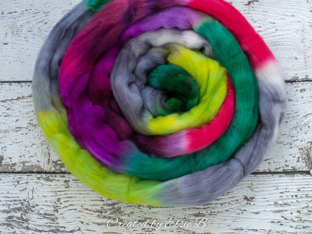 Organic Polwarth 'Hummingbird' 4 oz red spinning fiber, green wool roving for spinning, gray hand dyed roving, Created by Elsie B combed top